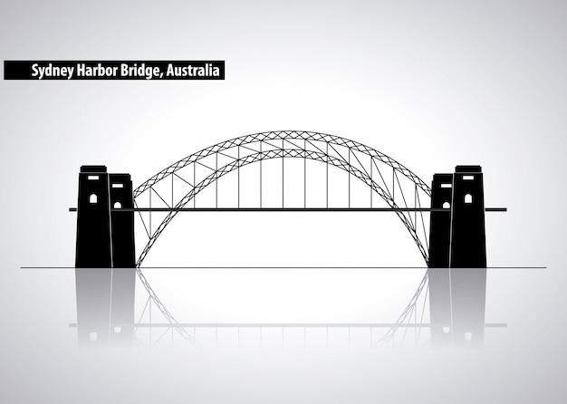 オーストラリア、シルエットイラストのシドニーハーバーブリッジ 無料ベクター