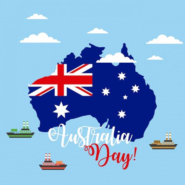 Счастливый день австралии с флагом на карте Бесплатные векторы