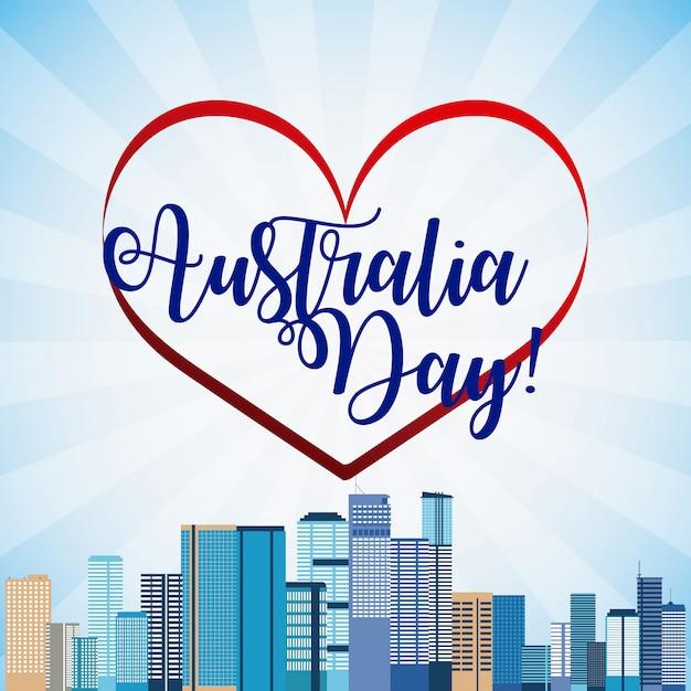 幸せなオーストラリアの日とスカイラインのバナー 無料ベクター