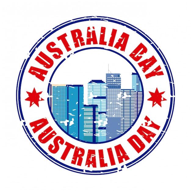 Счастливый день австралии этикетка с горизонтом Бесплатные векторы