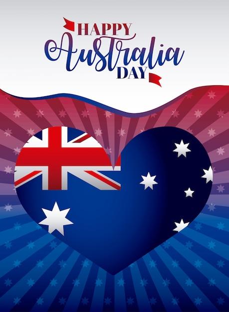 ハート、形状図のフラグと幸せなオーストラリアの日 無料ベクター