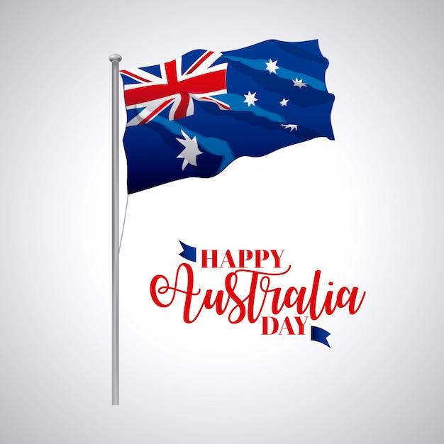 День австралии, флаг волна флаг праздновать дату иллюстрации Бесплатные векторы