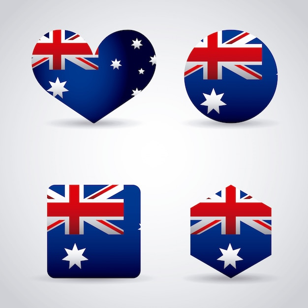ハート、サークル、オーストラリアの国旗と図形のセット 無料ベクター