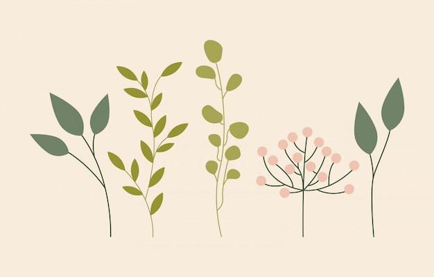 緑の葉、フラットスタイル 無料ベクター