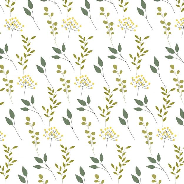 花、葉、葉のパターン 無料ベクター