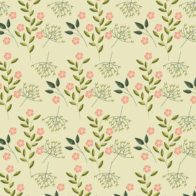 緑の葉とピンクのバラのパターン 無料ベクター