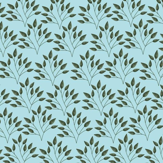 Зеленые и синие листья, рисунок иллюстрации Бесплатные векторы