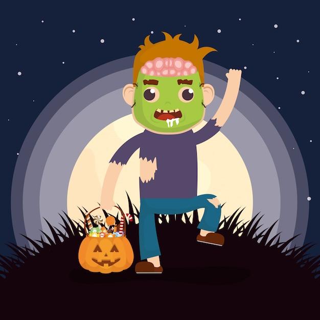 Маленький мальчик с маскировкой зомби и конфетами из тыквы Бесплатные векторы