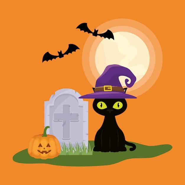 墓地で猫とハロウィーンの暗いシーン 無料ベクター