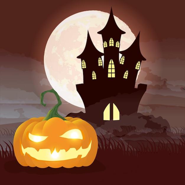 Хэллоуин темная ночная сцена с тыквой и замком Бесплатные векторы