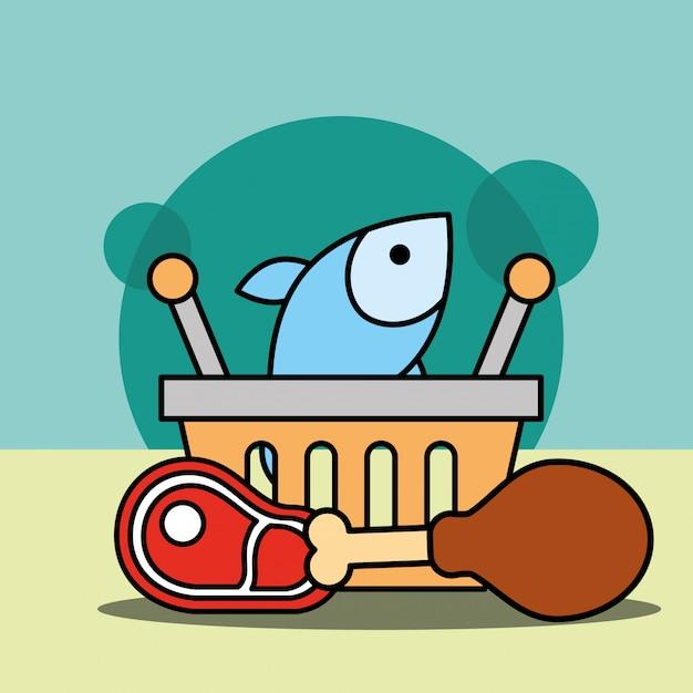 Корзина для покупок рыбы, курицы и мяса Бесплатные векторы