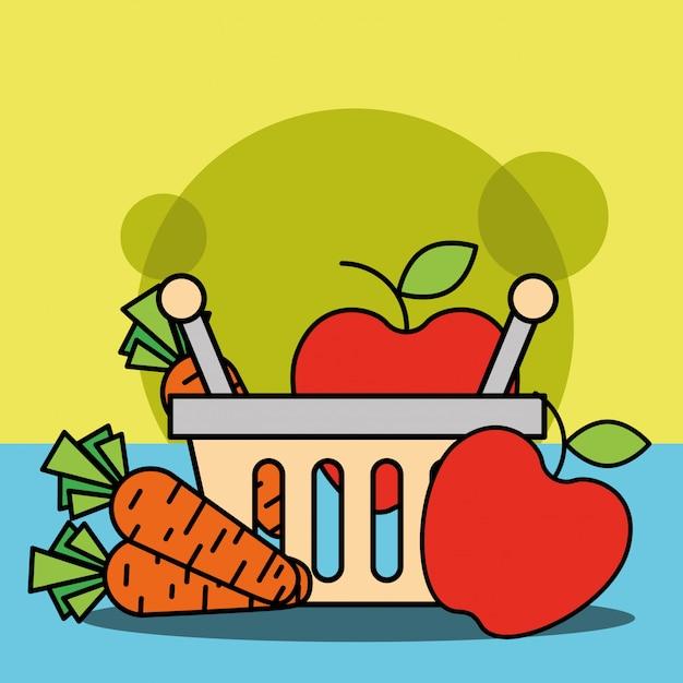 果物と野菜のニンジンりんごの買い物かご 無料ベクター