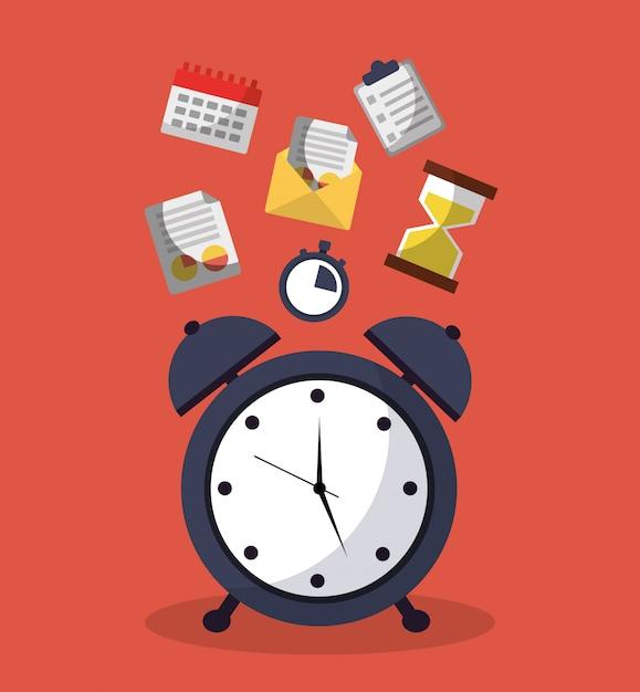 メッセージサービスとカレンダーの時間目覚まし時計 無料ベクター