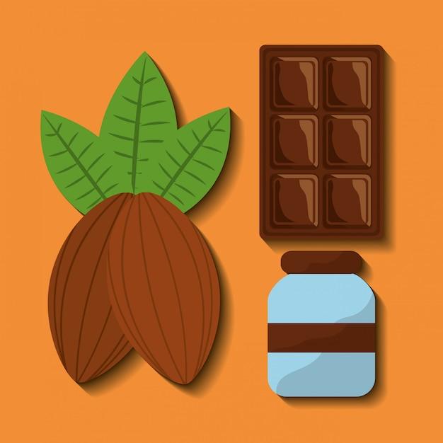 チョコレートフードのセット 無料ベクター