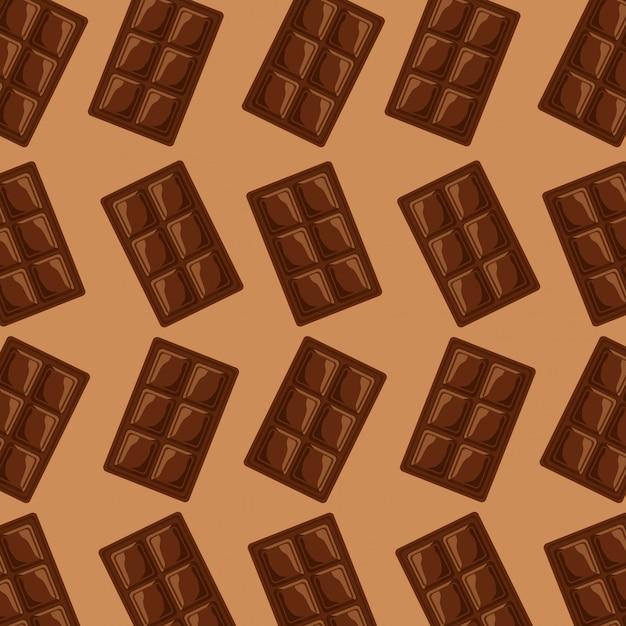 チョコレートバーの正方形の甘いパターン 無料ベクター