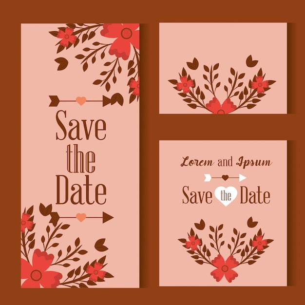 ピンクの背景に花で飾られた日付カードを保存します 無料ベクター