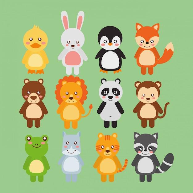 Набор милых диких животных животных дикой природы Бесплатные векторы