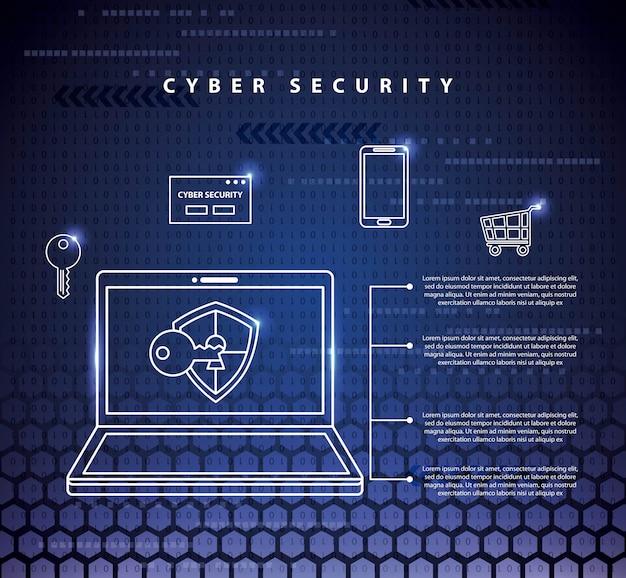 Иллюстрация технологии кибербезопасности Бесплатные векторы