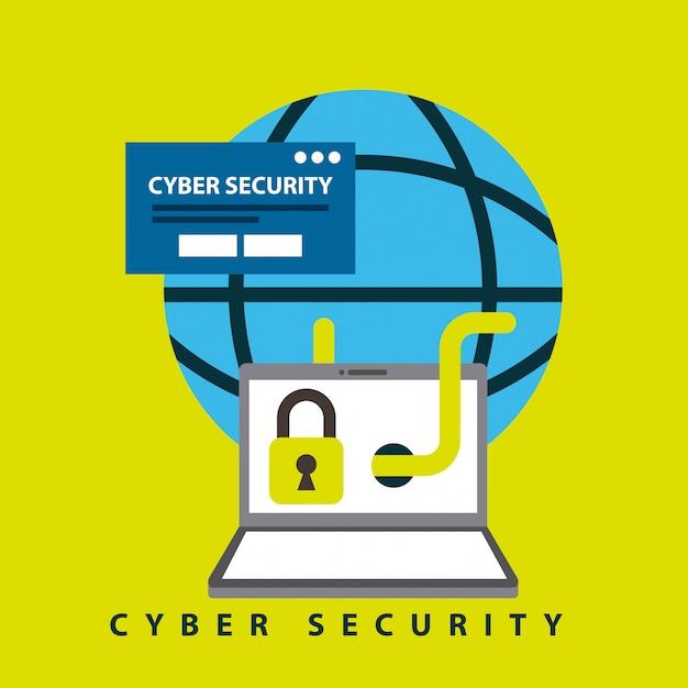 サイバーセキュリティ技術の図 無料ベクター