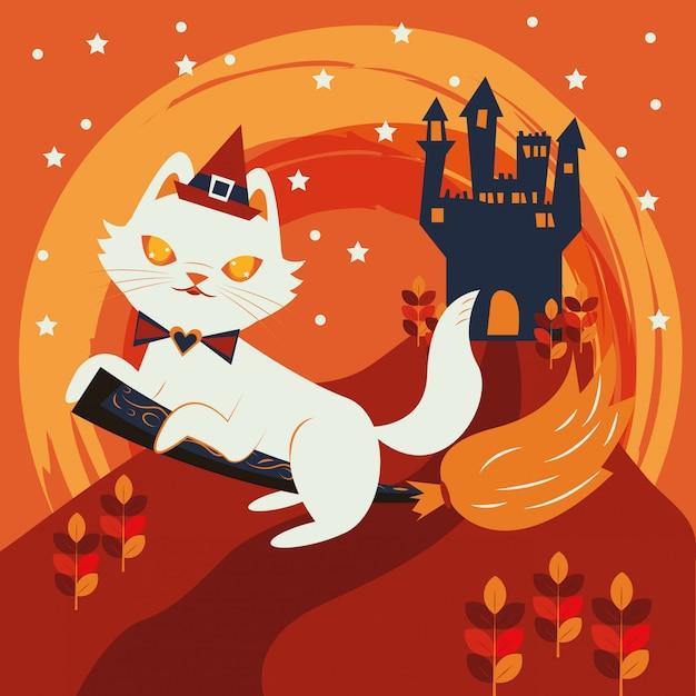 魔女キャラクターを装ったハロウィン猫 無料ベクター