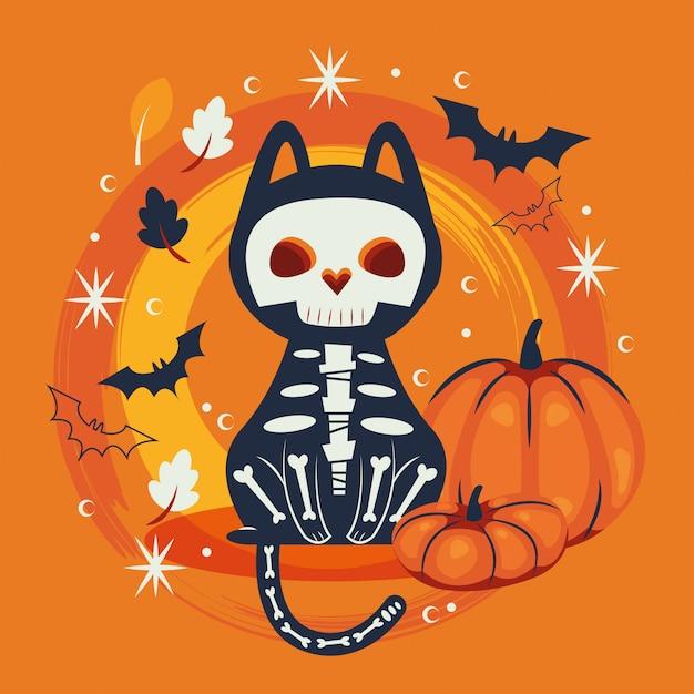 頭蓋骨のキャラクターを装ったハロウィン猫 無料ベクター
