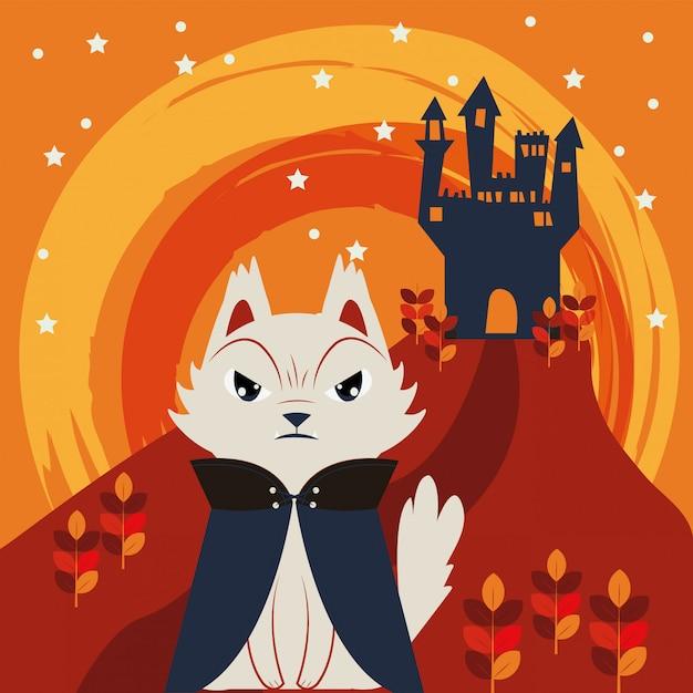 ドラキュラのキャラクターを装ったハロウィン猫 無料ベクター