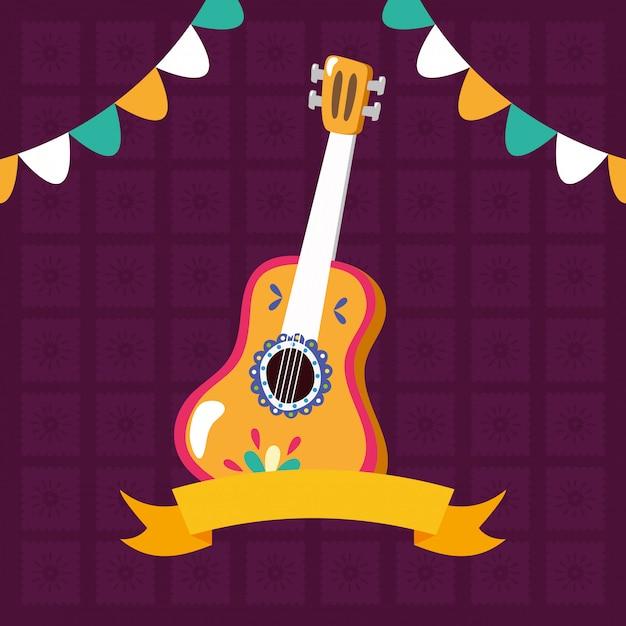 リボンと花輪のギター 無料ベクター