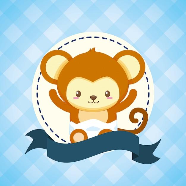 ベビーシャワーカードの猿 無料ベクター
