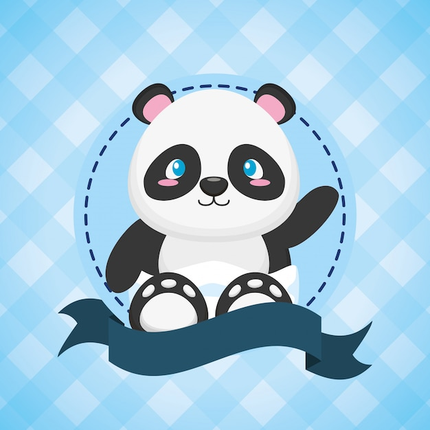 ベビーシャワーカードのパンダ 無料ベクター