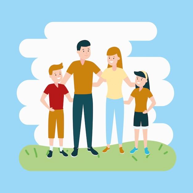 Родители с сыном и дочерью Бесплатные векторы