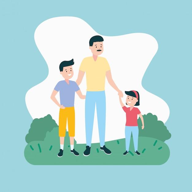 父と息子と娘 無料ベクター