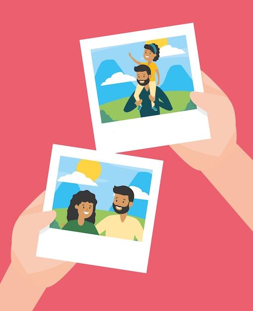 Руки с фотографиями в день семьи Бесплатные векторы