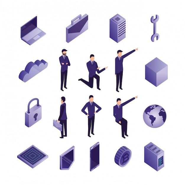 Пакет деловых людей и значки центров обработки данных Бесплатные векторы