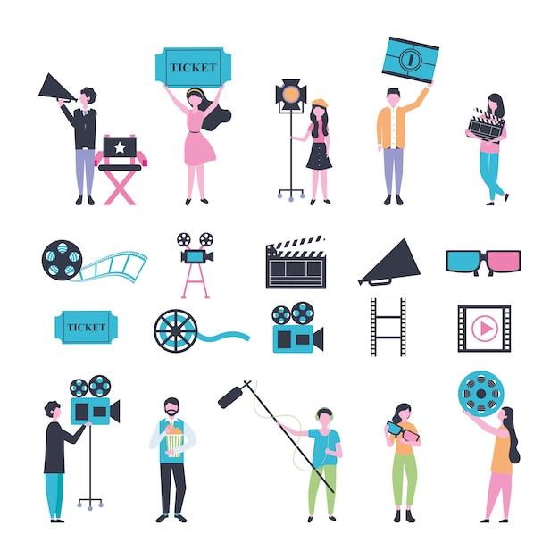 Пучок людей и иконки кинотеатра Бесплатные векторы