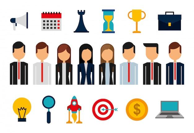 Связка деловых людей, аватаров и расходных материалов Бесплатные векторы