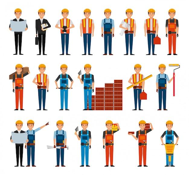 Связка строительных рабочих и инструментов Бесплатные векторы