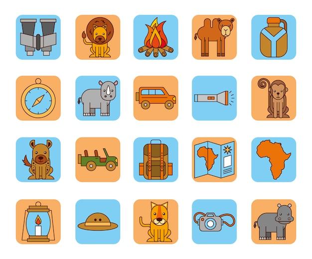 Набор иконок африканского сафари Бесплатные векторы