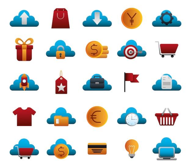 Набор бизнес красочный набор иконок Бесплатные векторы