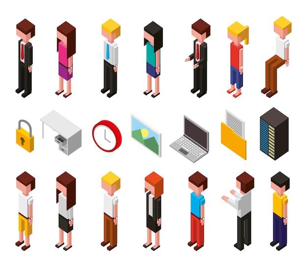 Пакет из центра обработки данных и пользователей аватары изометрической набор иконок Бесплатные векторы