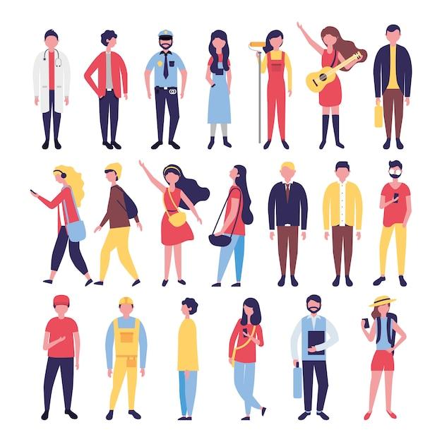 Группа людей, объединяющих персонажей Бесплатные векторы