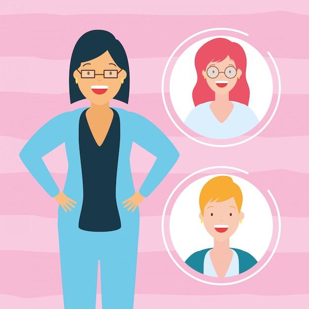 Женская коллекция аватаров Бесплатные векторы