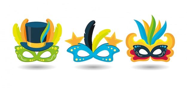 Бразильский карнавал фестиваль масок Бесплатные векторы