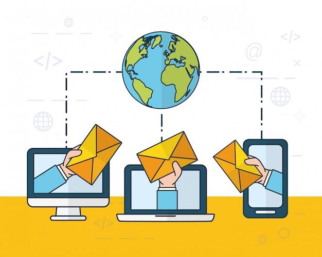 Отправить концепцию электронной почты Бесплатные векторы
