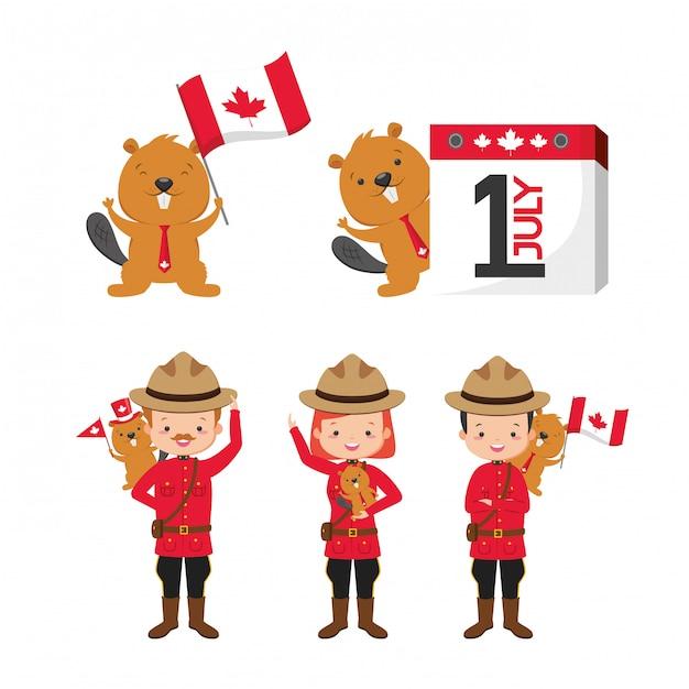 幸せなカナダの日の概念 無料ベクター
