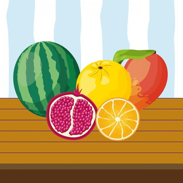 Фон тропических фруктов Бесплатные векторы