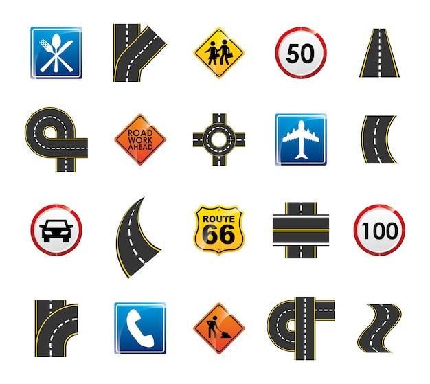 孤立した道路標識のアイコンを設定 無料ベクター