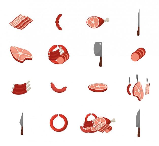 肉とグリルのアイコンを設定 無料ベクター