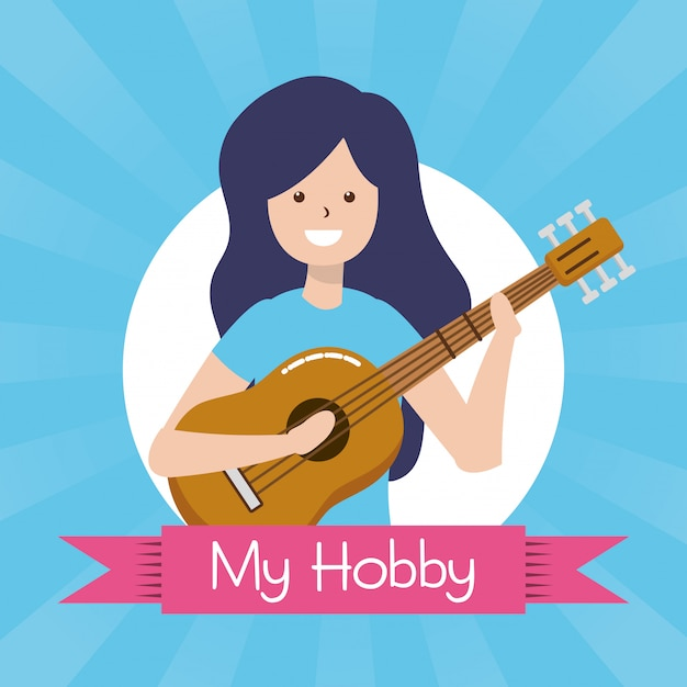 私の趣味の人、ギターのイラストを持つ人 無料ベクター