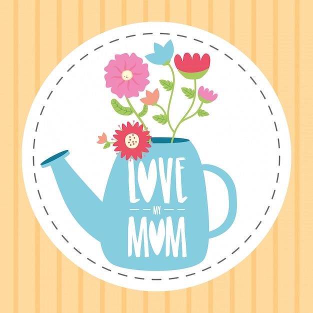 幸せな母の日水まき缶の花の母の日イラスト 無料ベクター