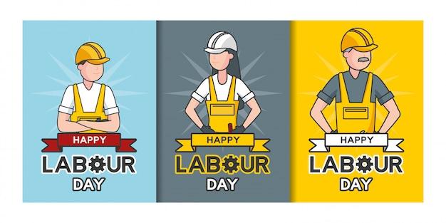 С днем труда, рабочие, набор рабочих иллюстрации Бесплатные векторы